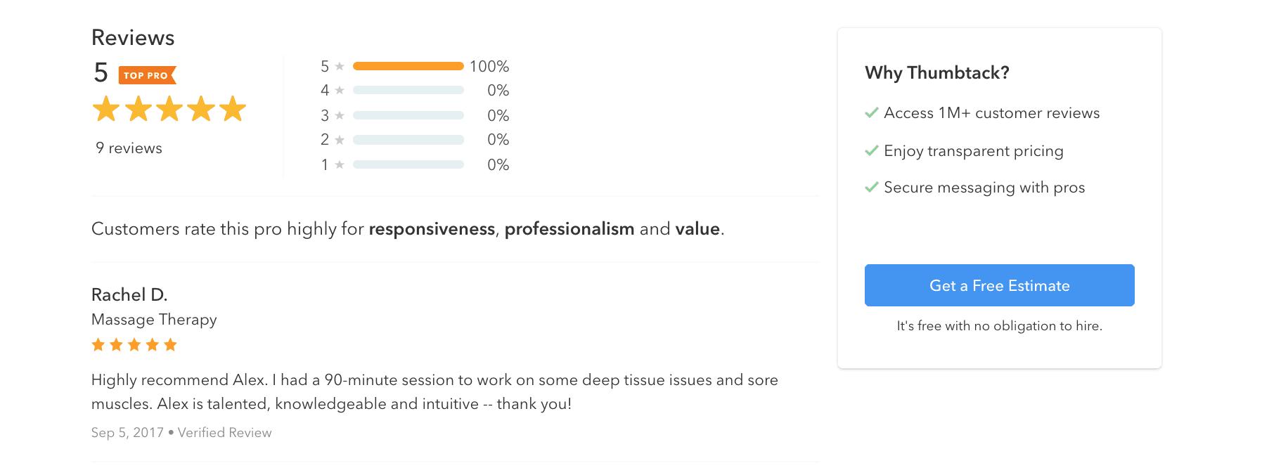 Thumbtack review screen
